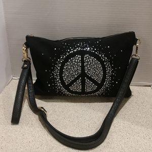 Black Jean Peace Sign Bling Purse Clutch or Cross
